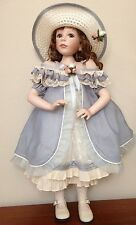 "Gorgeous Geppeddo Porcelain Girl Doll Painted Limited Ed 26"" Blue Eyes"