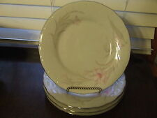 CAC Ceramic Fine China SHIRLEY 4 Salad Plates Floral Flower Lily Lilies NEW