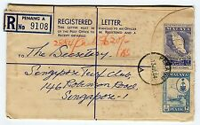 FEDERATION OF MALAYA - Registered Letter 9108, Penang to Singapore 1964