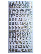 CAPITAL LETTERS ALPHABET Peel off Stickers 12mm Shimmer Foil Card Making