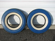 "2 Vintage 1956 NOS 7.10-15 U S Royal Master Blue ""Color Wall"" White Wall Tires"