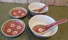 Asian Chinese RICE SOUP BOWLS (2) with SPOON and DIPPING SAUCE 6pc CHINA