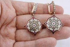 Motif Turkish Handmade Hurrem Rolexana Ruby Topaz 925 Sterling Silver Earrings