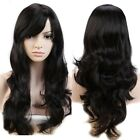 POP Woman Black Wig Long Curly Wavy Cosplay Daily Party Heat Resisitant Hair Wig