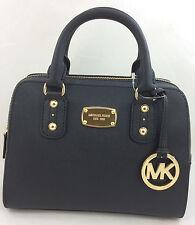 NEW Michael Kors Saffiano Leather Small Satchel Handbag Shoulder Bag Purse Black