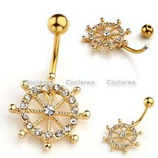 Crystal CZ Barbell Steel Golden Anchor Navel Belly Button Rings Piercing Jewelry