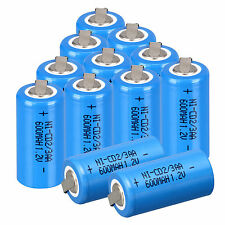 Lot of 12pcs Ni-Cd 1.2V 2/3AA 600mAh rechargeable battery NiCd Batteries &Tap