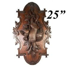 "Antique Carved Black Forest Stag & Fowl Head 25"" Wall Plaque, Fruits of the Hunt"