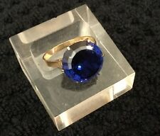 HM 14ct 14k Gold Round Huge Midnight Blue Synthetic Spinel Solitaire Ring