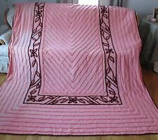 """Vintage Chenille Bedspread Pink Maroon Floral Fabric Cutter 100"""" x 84"""""""