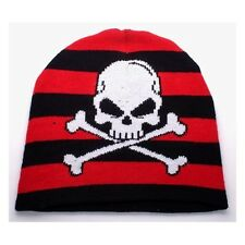 NEW PUNK ROCK WINTER HAT CAP ~ BLACK & RED STRIPES SKULL CROSSBONES BEANIE FT335