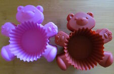 12 Teddy Bear Silicone Cupcake Liners Reusable Egg Tart Muffin Liners NEW