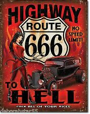 Large Route 66 Highway to Hell Hot Rod Garage Vintage Retro Metal Tin Sign 2123