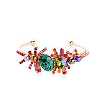 Bracelet Jonc Ouvert Doré Malachite Vert Cristal Rouge Perle Violet Vintage CT 6