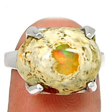 Mexican Opal 925 Sterling Silver Ring Jewelry s.7 MXOR492