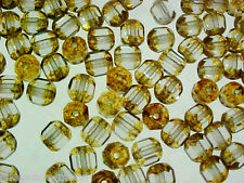 VTG 200 CATHEDRAL STYLE AMBER PRESSED GLASS BEADS #060711k
