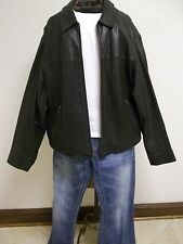 Men's Eddie Bauer XL Black Leather Front Zip Up Coat
