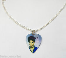 "PRINCE guitar pick plectrum SILVER TONE CURB CHAIN NECKLACE 24"" curb chain"