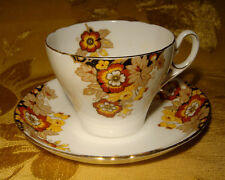 SHELLEY YELLOW BROWN FLOWERS CUP & SAUCER GOLD TRIM MADE IN ENGLAND