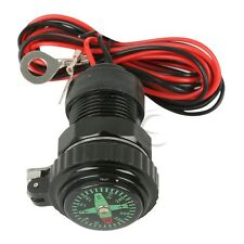 12V Mobile Phone USB Charger Power Adapter Socket W/ Compass For Motorcycle NEW