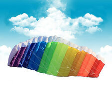 Rainbow 14M Parafoil Kite with Control Bar Dual Line Power Braid Sailing Kites