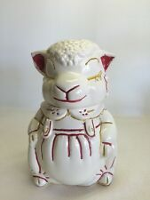 Vintage American Bisque Pottery Lamb Sheep Cookie Jar A.B.Co. Mid Century