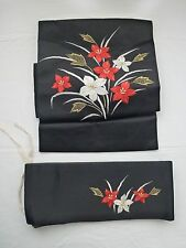 Vintage authentic Japanese pre-tied one touch obi for kimono, good cond. (H432)