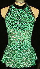 GREEN AND BLACK LEOPARD PRINT Ice Figure Skating Dress GIRLS MEDIUM 8 / 9 / 10