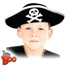 Pirate Captain Hat Kids Fancy Dress Caribbean Buccaneer Boys Girls Accessory New
