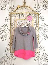 Lovely EUC Neon Buddha Grey/Pink Color Block Pullover Tunic Top P XS/S