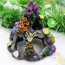 Resin Coral Mountain View Cave Stone Landscape Aquarium Ornament Fish Tank Decor