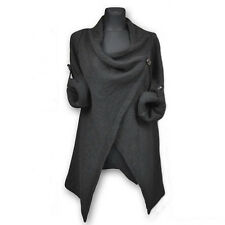 Womens Ladies Cowl Neck Long Sleeve Jumper Top Cardigan Split Wrap Sweater Coat