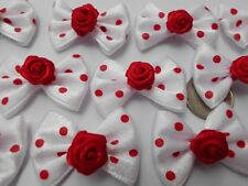 50! Gorgeous Satin Polka Dot White & Red Rose Bow Ties - Romantic Red Rose Bows!