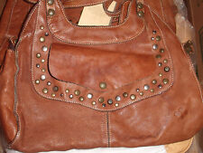 PATRICIA NASH VINTAGE DISTRESSED WASHED LEATHER ERGO STUDDED SATCHEL RICT RUST