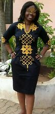 Odeneho Wear Ladies Black Polished Cotton Dress/ Embroidery. African Clothing