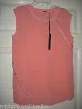 New w tag MSRP$268 Gorgeous Elie Tahari Sleevelss Blouse W side & back design-XS