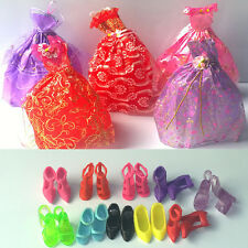 2015 NEW STYLE Wholesale 15 Items=5Pcs Fashion Dresses&10 Shoes For Barbie doll