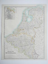 BELGIUM NETHERLANDS BRUSSELS AMSTERDAM 1914 Large Map Johnston