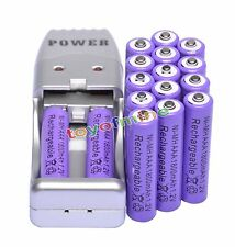 16x AAA 3A 1800mAh 1.2 V Ni-MH Rechargeable Battery Purple + AA AAA USB Charger