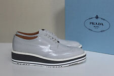 New sz 11 / 41 PRADA Gray Leather Wing Tip Lace up Oxford Platform Flat Shoes
