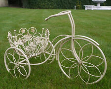Shabby Chic Metal Tricycle Planter Stand Garden Ornament Bike Basket Flower Pots