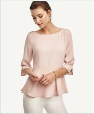 NWT Ann Taylor 3/4 Sleeve Crepe Peplum Top  PS $79.50 Pink