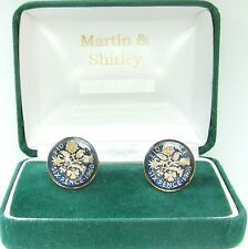 1960 6D cufflinks from real coins in Blue & Gold