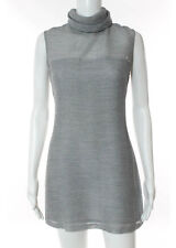 NWT ADEAM Silver Mesh Lined Sleeveless Turtleneck Tunic Dress Sz 2 $595