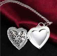 Lady Pretty Silver love heart valentine lover locket chain necklace pendant EY