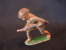 Old Vtg Barclay Military Collectible Lead Army Officer Helmet Riffle Gun