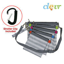 Clevr Diaper Bag Organizer Pouches, 4 Mesh and 1 Wet bag, with Stroller Clip