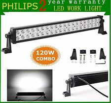 22inch 120W Philips Led Work Light Bar Spot Flood Offroad SUV Car Boat Truck UTE