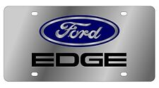 New Ford Edge Blue Logo Stainless Steel License Plate