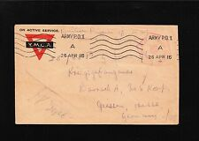 Great Britain WWI Field Censor 2090 YMCA Army PO #1 to POW in Germany Cover 7y